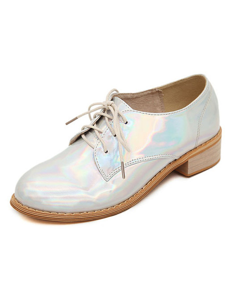 Casual Silver Patent Round Toe Patent PU Trendy Oxfords фото