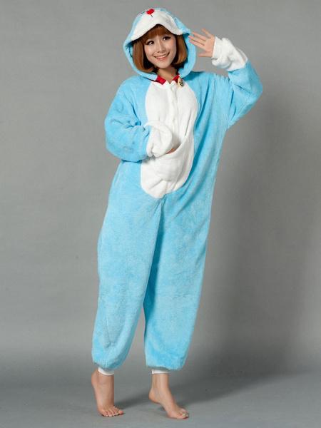 Kigurumi Pajama Doraemon Onesie For Adult Blue fleece Flannel Anime Cosplay Costume фото