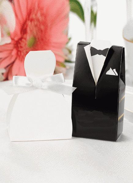 Image of Scatola carta perlata bianca sposa zucchero casella & sposo