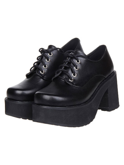 Gothic Black Lolita Square Heels Shoes Platform with Shoelace фото