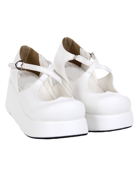 Black White Lolita High Platform Shoes Straps Heart Shape Buckle Round Toe фото
