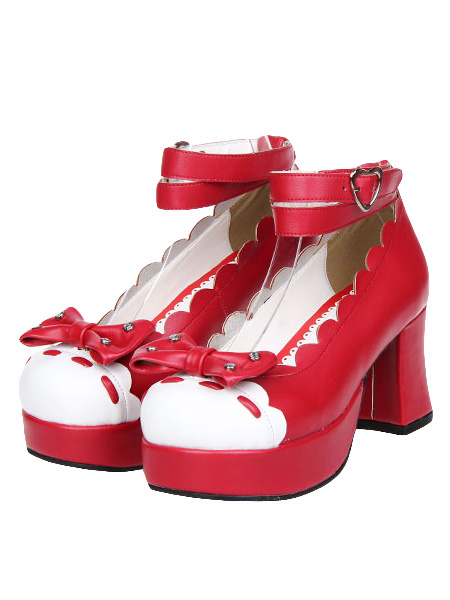 Ankle Strap Bow Round Toe PU Leather Street Wear Lolita Shoes фото