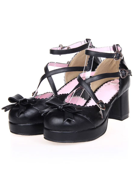 Sweet Black Round Toe PU Leather Street Wear Lolita Shoes фото