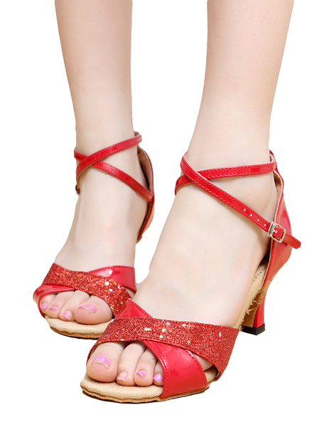 Stylish Criss-Cross Peep Toe Patent PU Upper Latin Dance Shoes