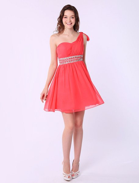 A-line Chiffon One-Shoulder Beading Watermelon Short Homecoming Dress