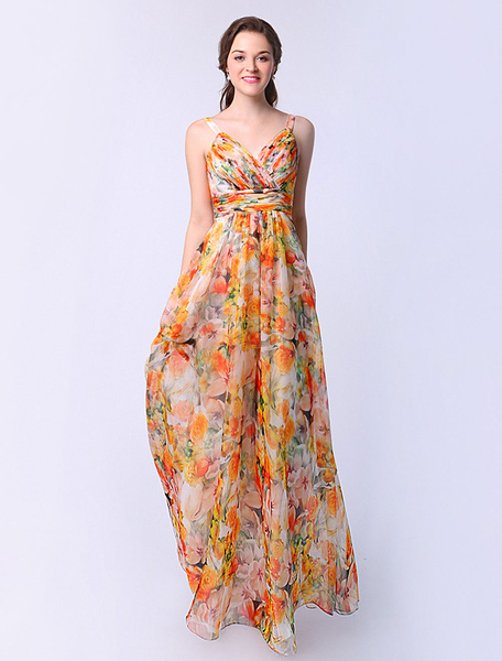 A-line Flower Print Chiffon Prom Dress with Sweetheart Neck Ruched фото
