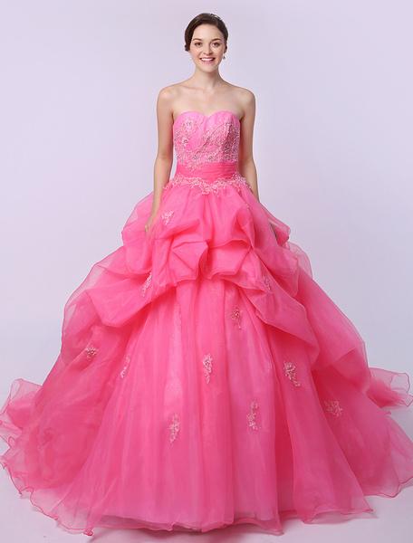 Rosa Ball Gown Organza Quinceanera abito senza spalline Applique piano lunghezza Backless Party Dres