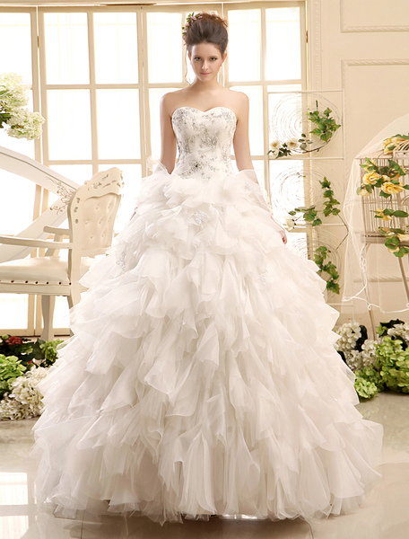 Ball Gown Neck Applique Tulle Floor-Length Ivory Wedding Dress