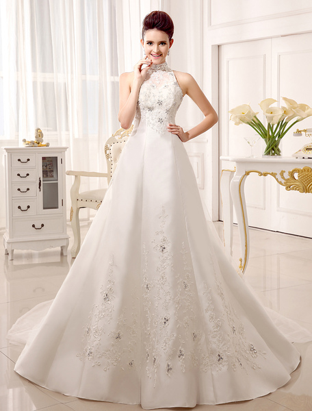 Court Train High Collar A-line Beading Ivory Wedding Dress For Bride фото