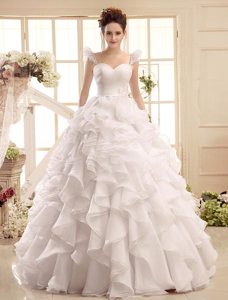 Sweetheart Neck Applique Floor-Length Ivory Wedding Dress For Bride Milanoo фото