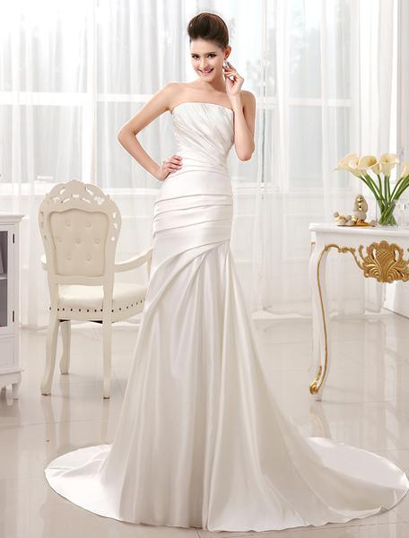 Ivory Mermaid Court Train Bridal Wedding Dress with Strapless фото