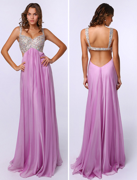 Lilac Sleeveless Beading Elastic Silk Like Satin Sheath Prom Dress фото