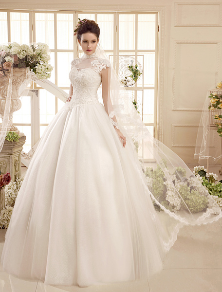 Floor-Length Ivory High Collar Ball Gown Applique Wedding Dress Milanoo фото