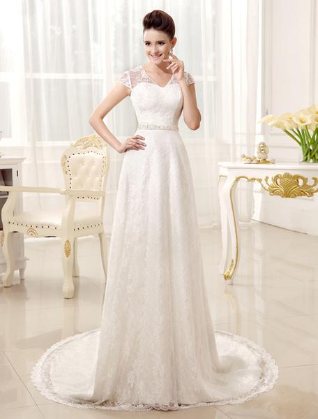 A-line V-Neck Off-The-Shoulder Buttons Ivory Wedding Dress For Bride