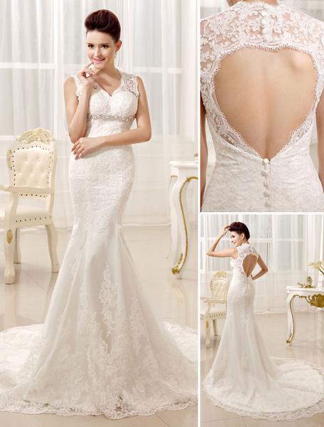 Mermaid Beaded Halter Lace Elegant Bridal Wedding Gown фото