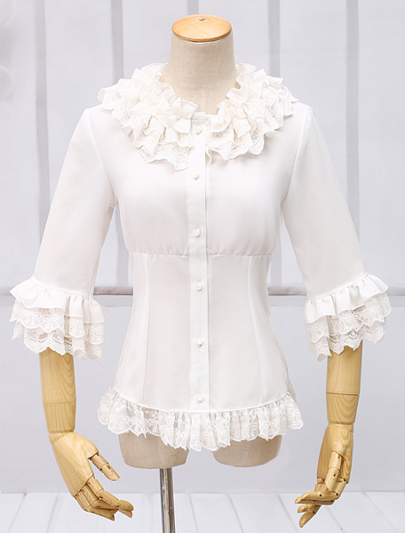White Chiffon Lolita Blouse Middle Sleeves Ruffles Lace Trim фото
