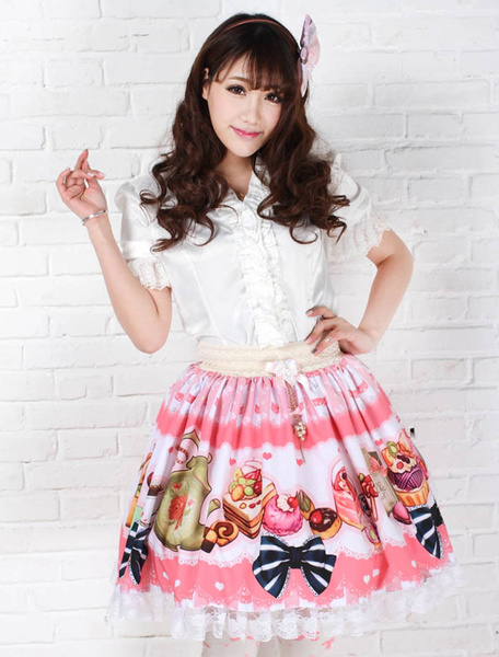 Sweet Pink Lolita Short Skirt Print Polyester Lace Trim фото