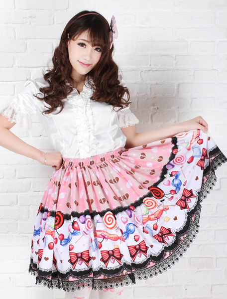 Sweet Pink Lolita Short Skirt Polyester Candy Print Lace Trim фото