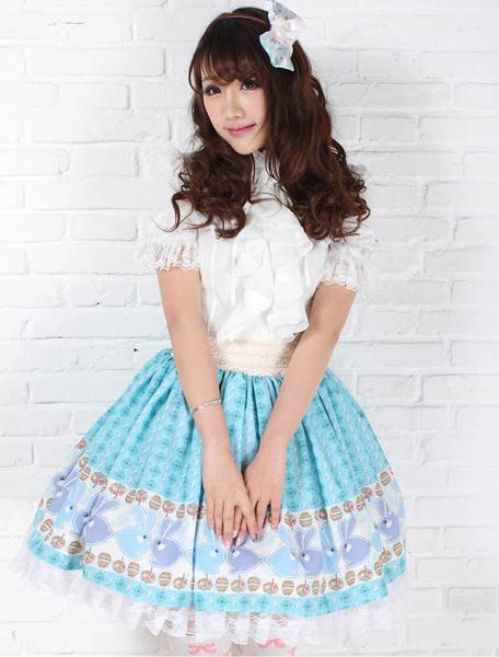 Blue Polyester Lace Angle Lolita Skirt фото