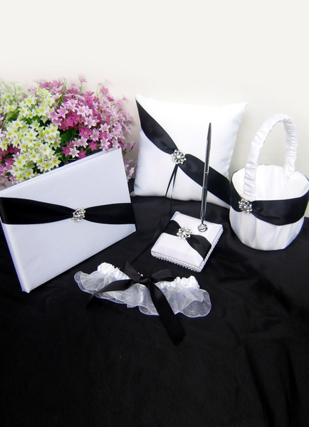 White Satin Wedding Collection Set with Black Ribbon