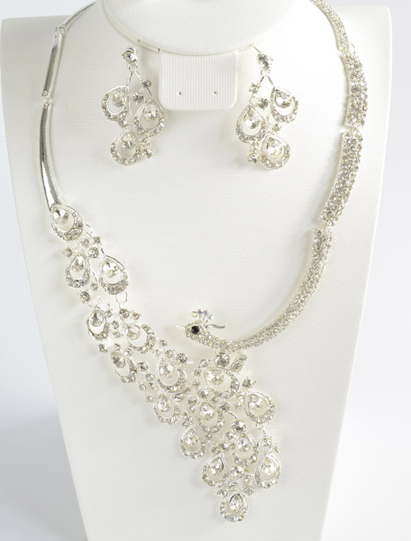 Rhinestone Pierced Metal Chic Bridal Jewelry Set