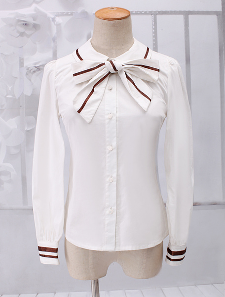 Dandy White Long Sleeves Cotton Lolita Blouse фото