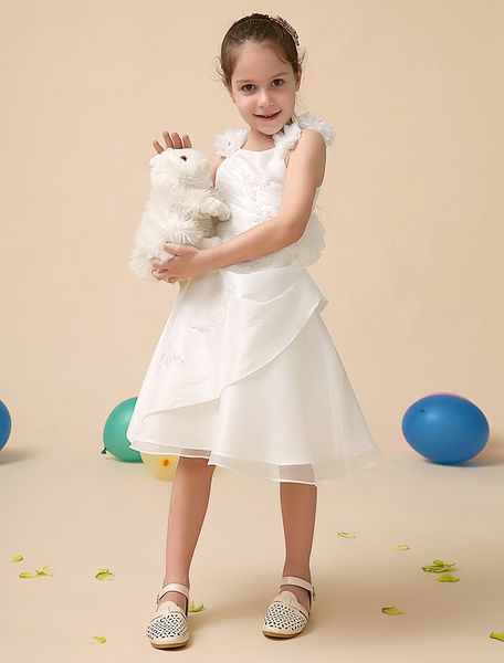 Ivory Square Neck A-line Applique Polyester Sweet Flower Girl Dress фото