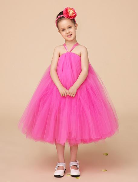 Fuchsia A-line Straps Neck Tea-Length Tiered Girls Pageant Dress фото