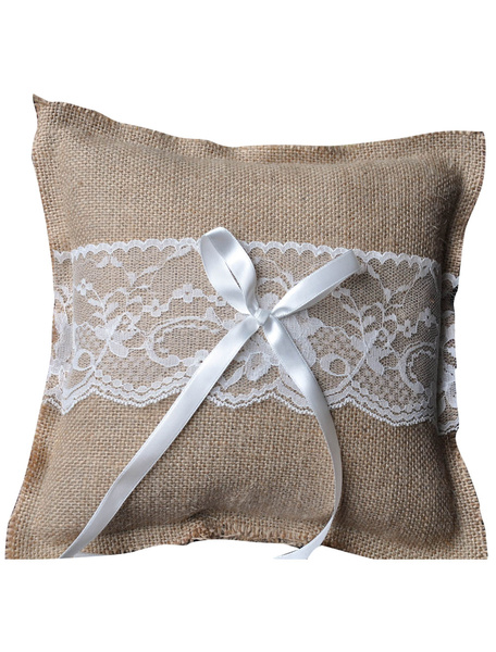 Gray Wedding Ring Bearer Pillow