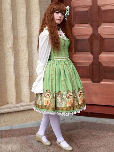 Sweet Straps Neck Print Cotton Blend Lolita Jumper Skirt фото