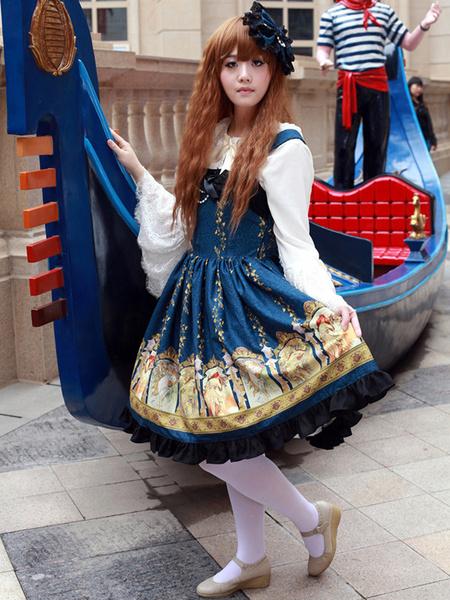 Blue Straps Neck Print Cotton Blend Cute Lolita Jumper Skirt Milanoo