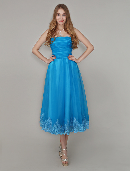 Blue Strapless Pleated Homecoming Dress with Lace Trimmed Skirt фото