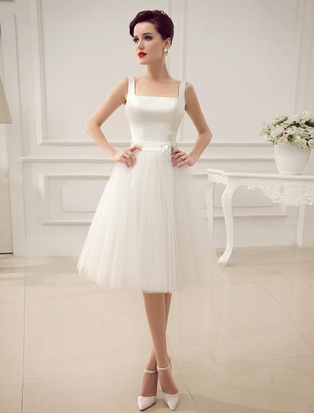Square Neck Applique Satin Short Wedding Dress with Beading Bow Sash Milanoo фото