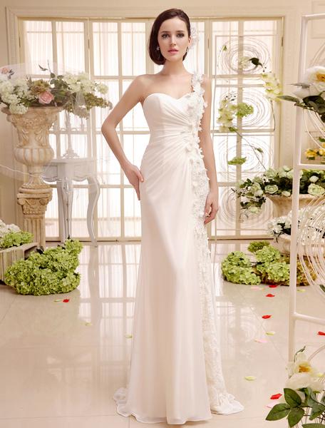 A-Linie-Brautkleid aus Chiffon in Elfenbeinfarbe Milanoo