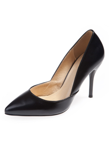 Sexy Black Flared Heel PU Leather Pointy Toe Stiletto Heel Shoes