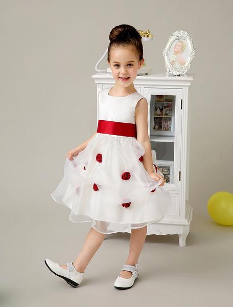 Collo quadrato fiore carino Applique Flower Girl Dress