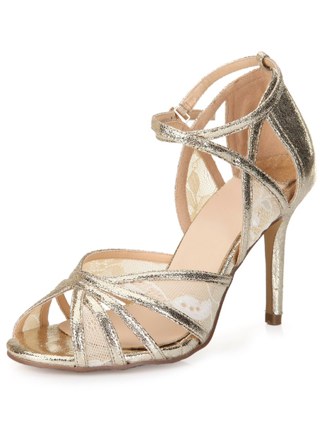 Chic Gold Buckled PU Leather Stylish Ladies' Dress Stiletto Shoes фото