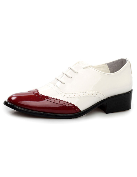 Color Block Pointed Toe Lace Up Patent PU Cut Out Man's Dress Shoes фото