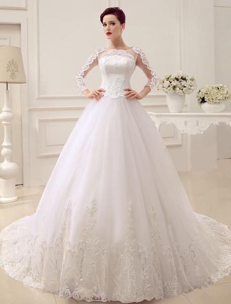 Applique Illusion Wedding Dress Court Train Wedding Gown Milanoo фото