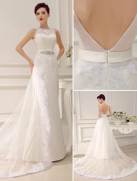 Jewel Neck Backless Court Train Sheath Lace Sash Rhinestone Bridal Wedding Dress Milanoo фото