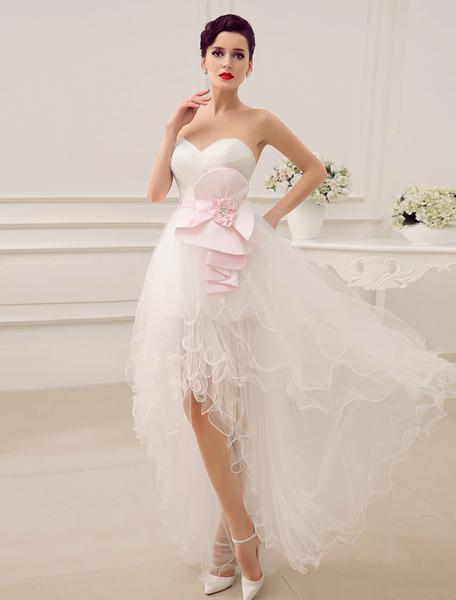 A-Linie-Brautkleid mit Herz-Ausschnitt in Elfenbeinfarbe Milanoo