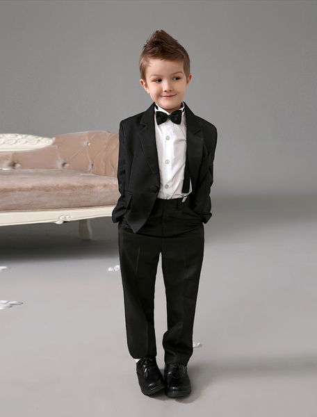 Classic Design Black Polyester Kid's Ring Bearer Suits фото
