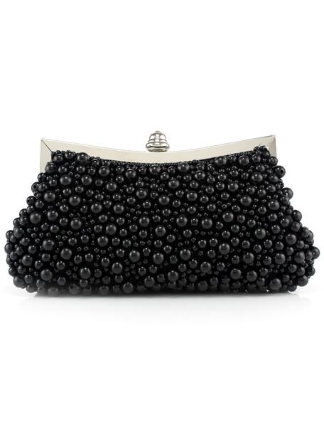 Pochette de soirée unicolore avec perles noires à bandoulière pour femme