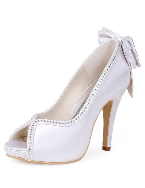 Pretty Rhinestone Silk And Satin Bow Peep Toe Pumps For Bride фото