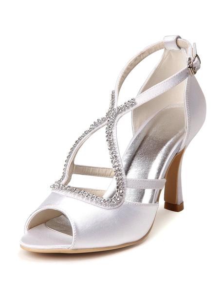 Gorgeous White Rhinestone Peep Toe Silk And Satin Pumps For Bride фото