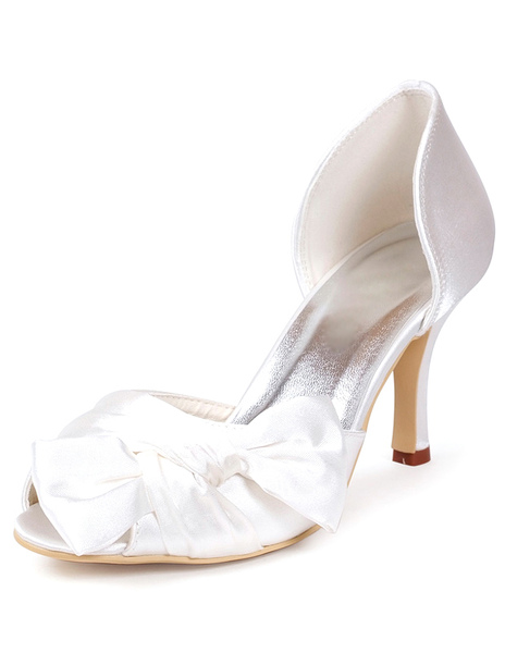 Glamourous Ivory Bow Peep Toe Silk And Satin Pumps For Bride Milanoo