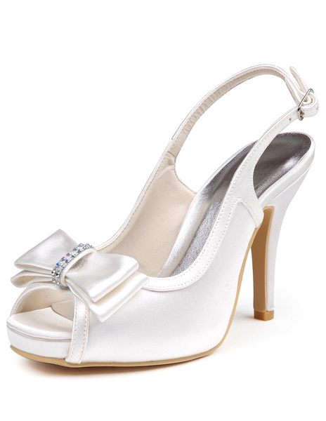 Gorgeous Ivory Silk And Satin Bow Peep Toe Pumps For Bride фото