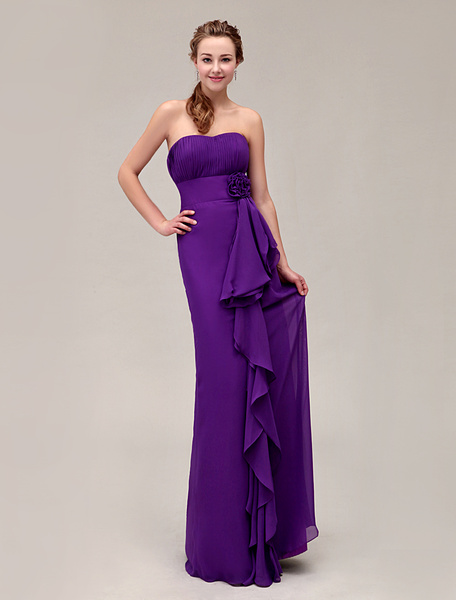 Gorgeous Strapless Floor-Length Pleated Chiffon Bridesmaid Dress With Flower фото
