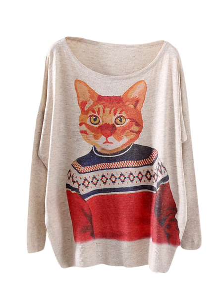 Quality Scoop Neck Animal Print Oversized Women's Pullover Sweater фото
