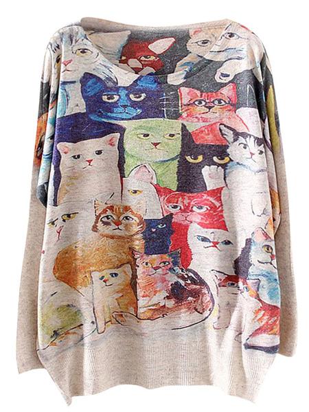 Animal Print Oversized Pullovers фото